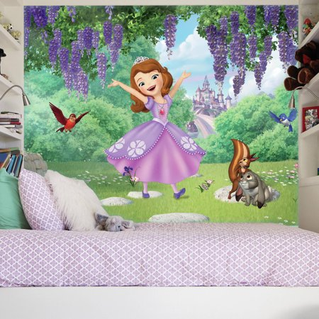 RoomMates Sofia the First, Friends Garden XL Chair Rail Prepasted Mural, 6 x 10.5, Ultra-Strippable
