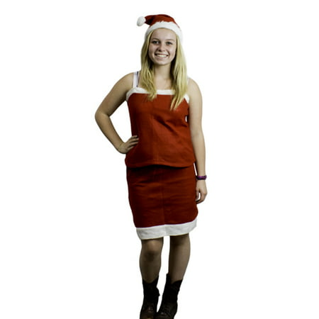 Mrs Santa Claus Christmas Teen Girl Costume Outfit Dress Up Set / Skirt Tank Top & Hat