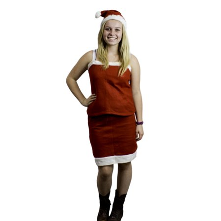 Mrs Santa Claus Christmas Teen Girl Costume Outfit Dress Up Set / Skirt Tank Top & Hat - Mrs Santa Claus Suit