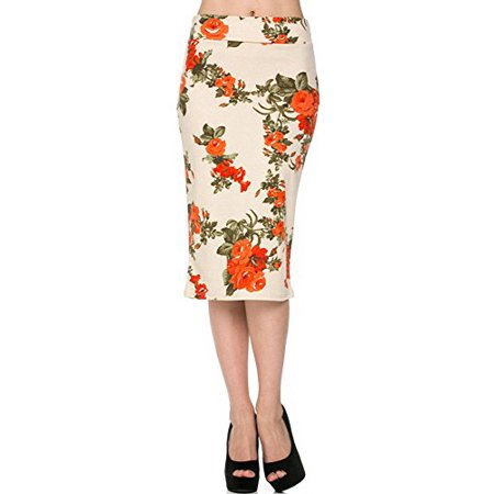 Sassy Apparel Womens Spring Summer Floral Patterned Casual to Office Pencil Fashion Skirt (Large, Floral-90)