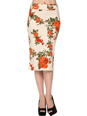 a6e85a7e3 Product Image Sassy Apparel Womens Spring Summer Floral Patterned Casual to  Office Pencil Fashion Skirt (Large,