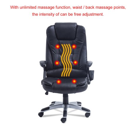 Black Office Mage Chair Executive Relax Back Leather Vibrating Computer Desk Swivel