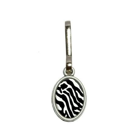 Zebra Zipper (Zebra Print Black White Oval Zipper Pull )