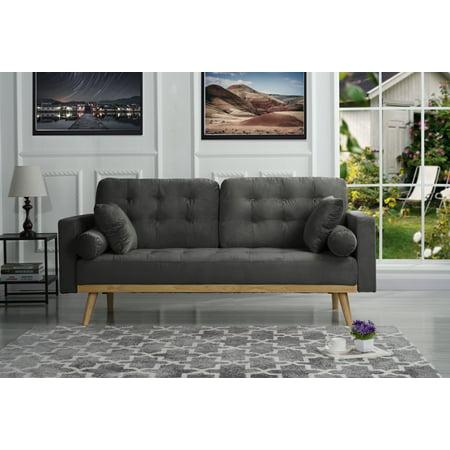 Modern Mid-Century Velvet Fabric Sofa, Dark Gray ()