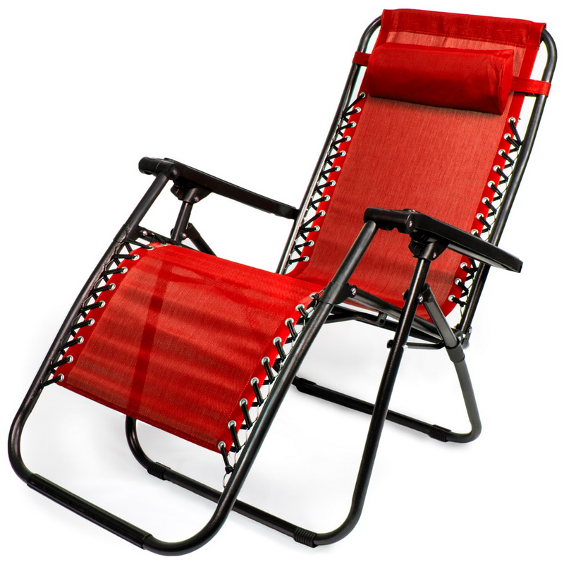 Brybelly Zero Gravity Folding Lounge Chair, Red