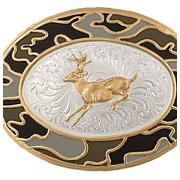 Montana Silversmiths Western Belt Buckle Camo Deer Silver 6108-210