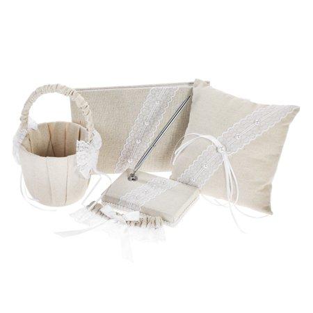 5pcs/set Vintage Burlap Lace Wedding Supplies Satin Flower Girl Basket + Ring Bearer Pillow + Guest Book + Pen Holder + Bride Garter Set