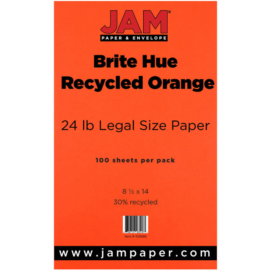 "JAM Paper 8.5"" x 14"" Legal-Sized Recycled 24 lb Paper, Orange, 100pk"