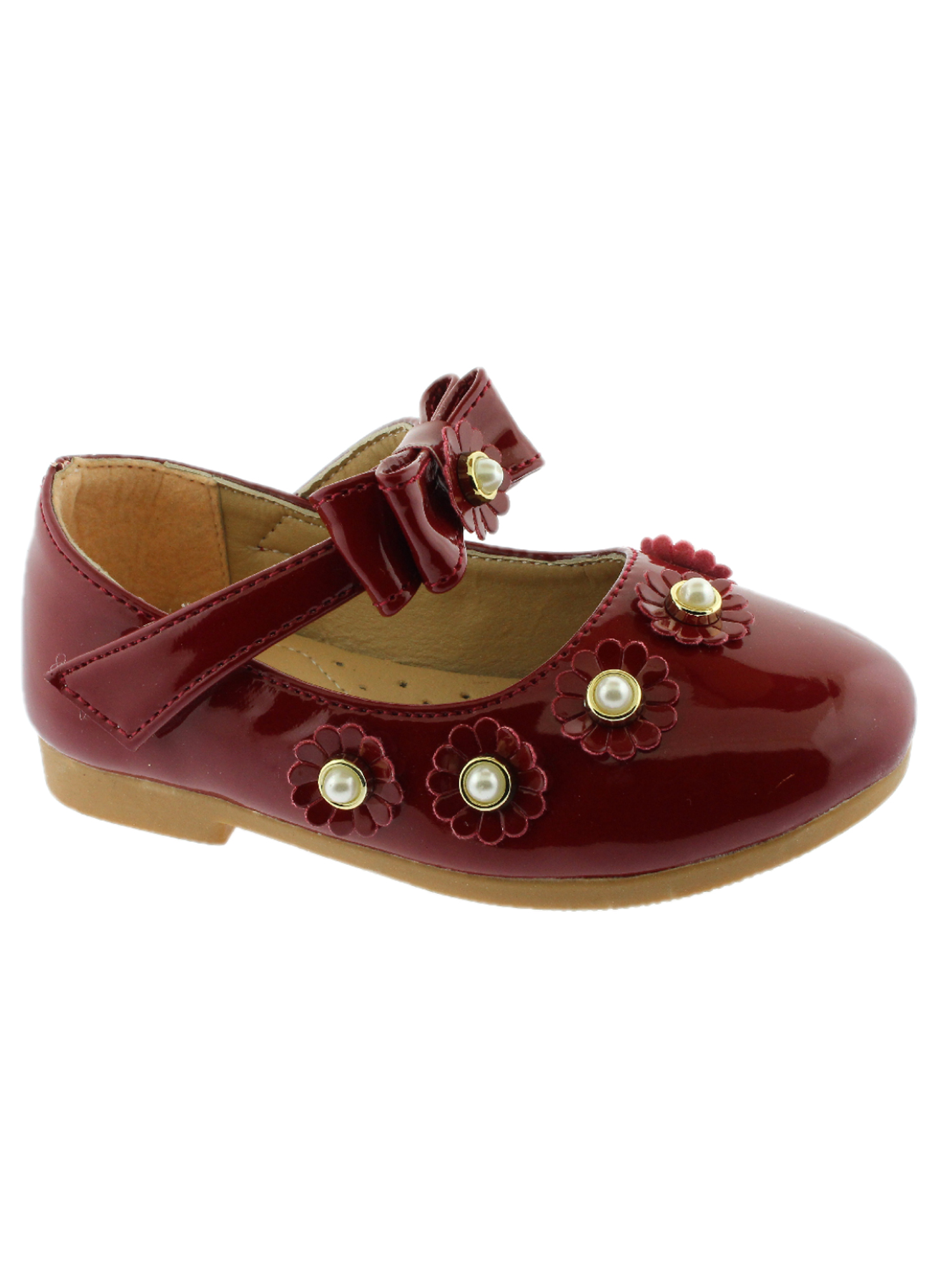 Kate Little Girls Red Flower Pearl Bow Strap Mary Jane Shoes