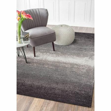 Jewel Flat Woven Gradient Distressed Tonal Gray / Beige Contemporary Indoor Area Rug ( 7'8