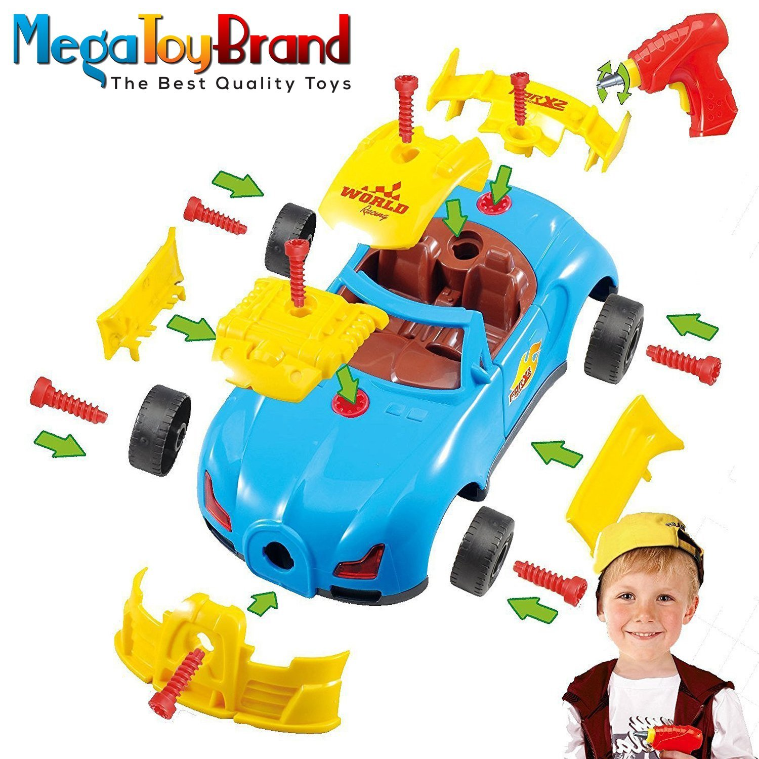 MegaToyBrand Racing Car Includes 30 Take Apart Pieces, Electric Tool Drill, Lights and Sounds