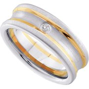 Size - 10 - Solid 10k White and Yellow Two Toned Gold Round White Diamond Mens Prong Set Wedding Ban