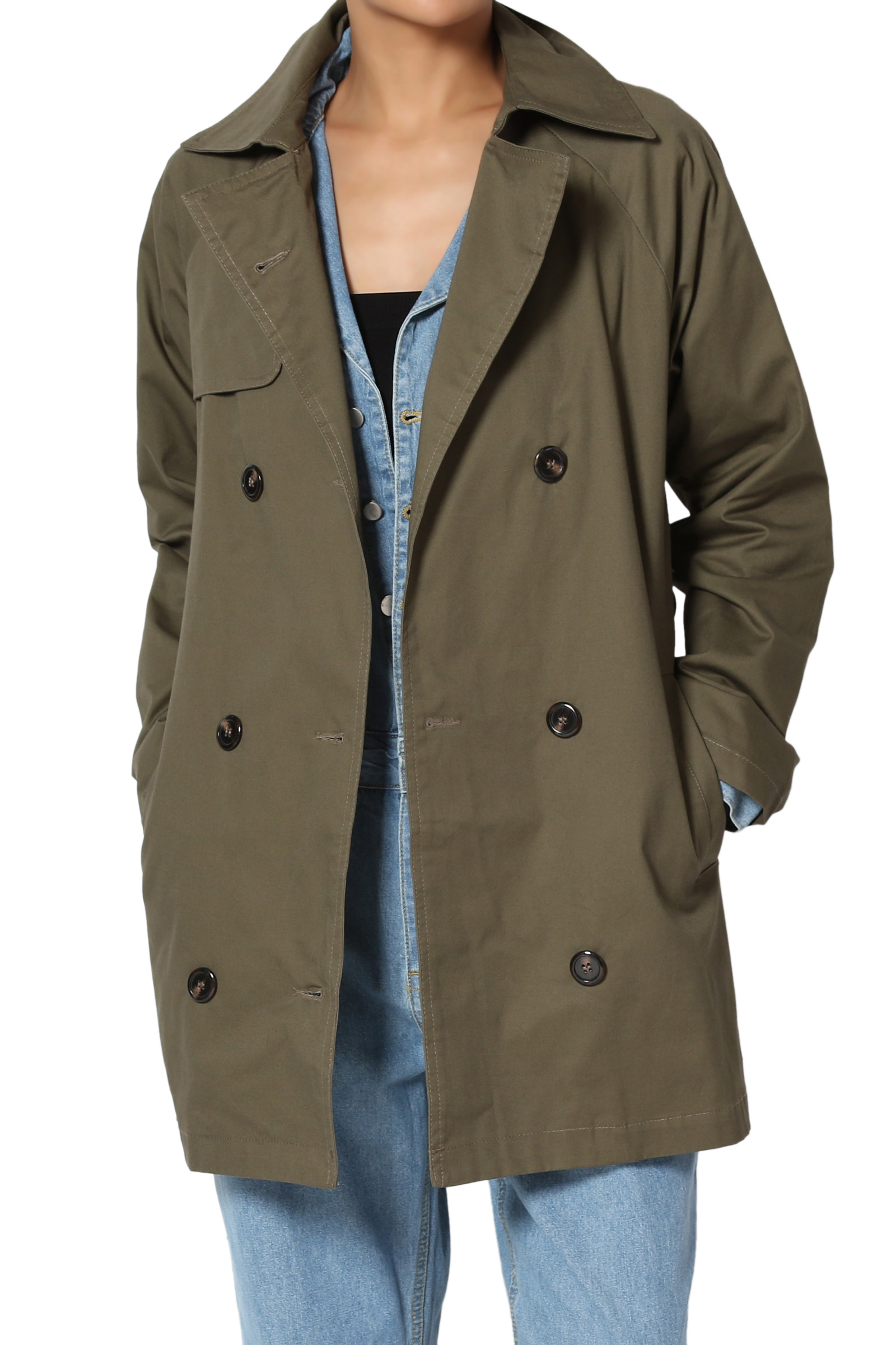 TheMogan Junior's Classic Double Breasted Short Half Trench Coat Utility Jacket