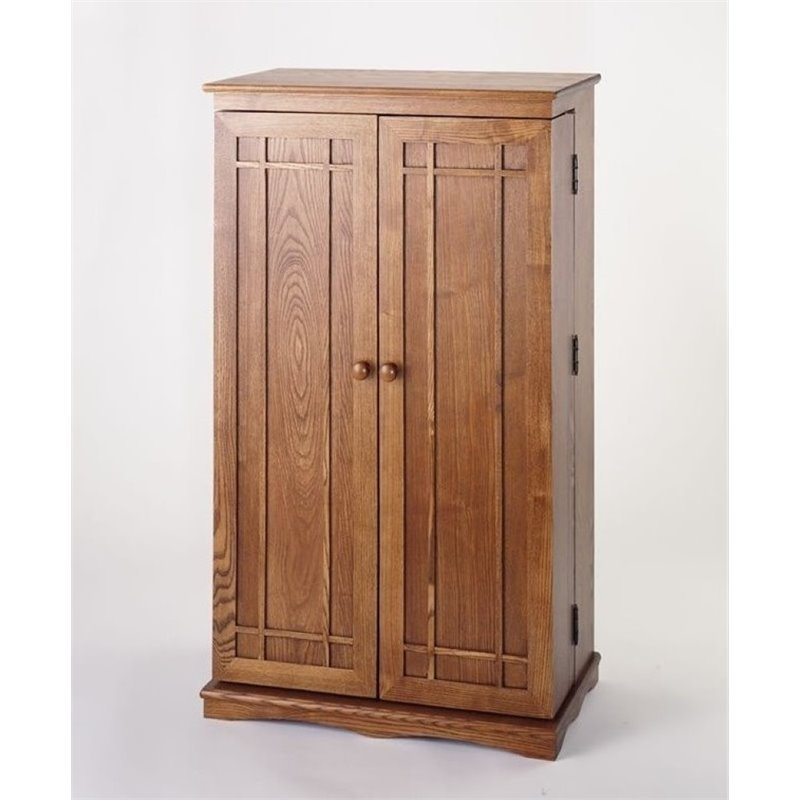 "Bowery Hill 40"" CD DVD Media Storage Cabinet in Dark Oak"