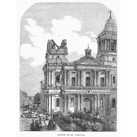 Manila Earthquake 1863 Nchurch Of Santo Domingo At Manila Philippines Following The Earthquake Of 1863 Wood Engraving From A Contemporary English Newspaper Poster Print By Granger Collection