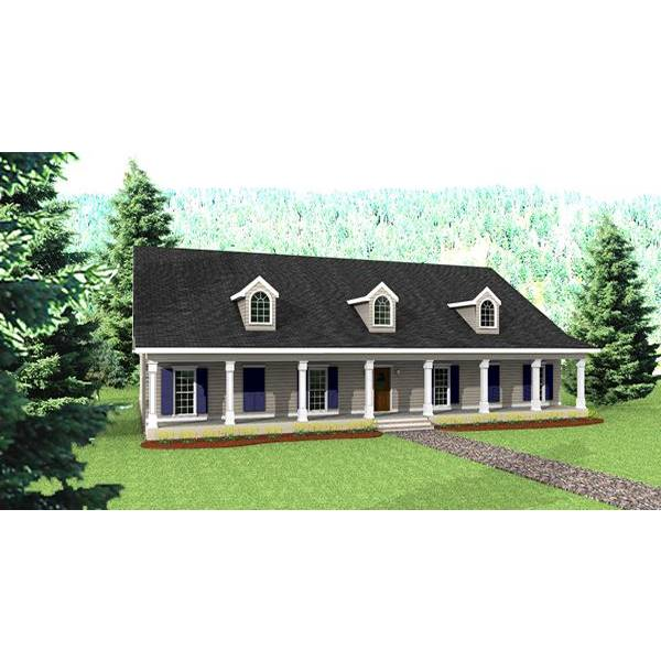 TheHouseDesigners-5746 Southern House Plan with Slab Foundation (5 Printed Sets)