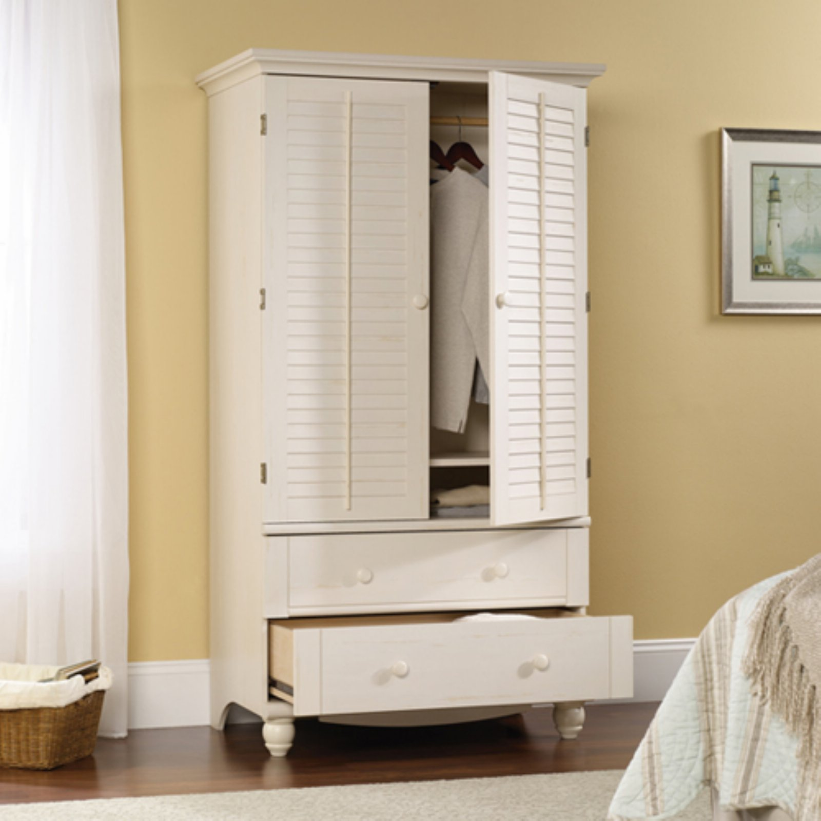 Sauder Harbor View Armoire Antiqued White by Sauder