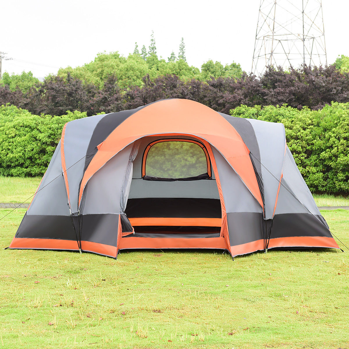 Gymax Portable 8 Person Family Tent Easy Set Up Outdoor Camping Hiking Rainproof W