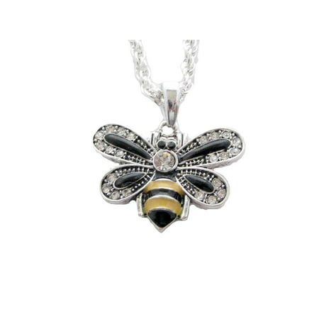 Bumble Bee Crystal Charm On Silver Plated Fashion Necklace (Queen Bee Necklace)
