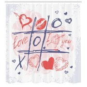 Valentines Day Decor Shower Curtain, Xoxo Game with Lips Sketchy Circles Hearts Romantic Love Theme, Fabric Bathroom Set with Hooks, 69W X 84L Inches Extra Long, Blue Red and White, by Ambesonne