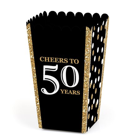 Adult 50th Birthday - Gold - Birthday Party Favor Popcorn Treat Boxes - Set of 12