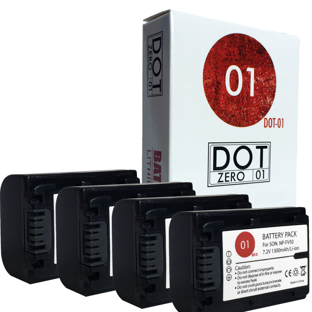 4x DOT-01 Brand 1300 mAh Replacement Sony NP-FV50 Batteri...