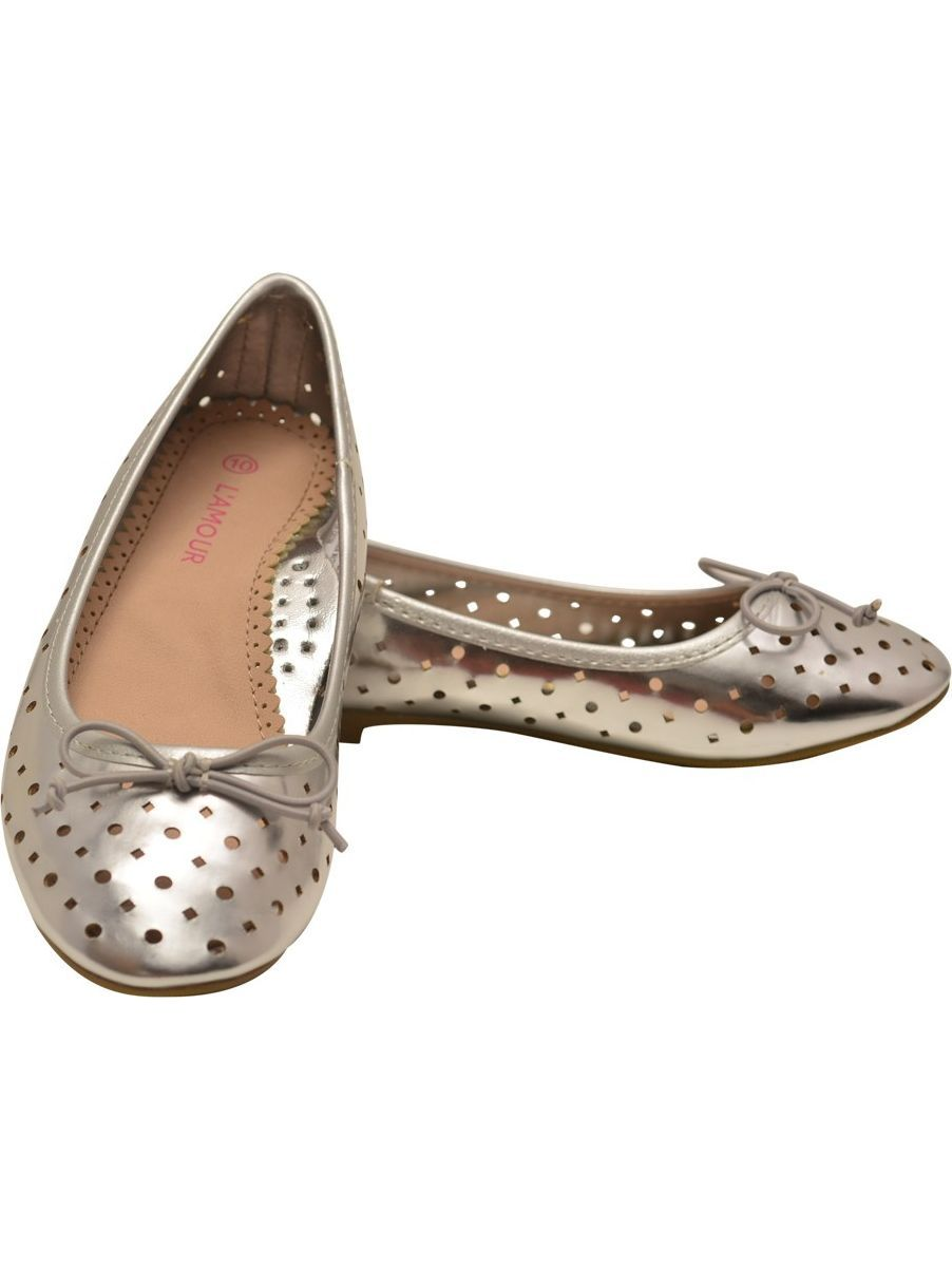 Girls Silver Perforated Ballet Flats Casual Shoes