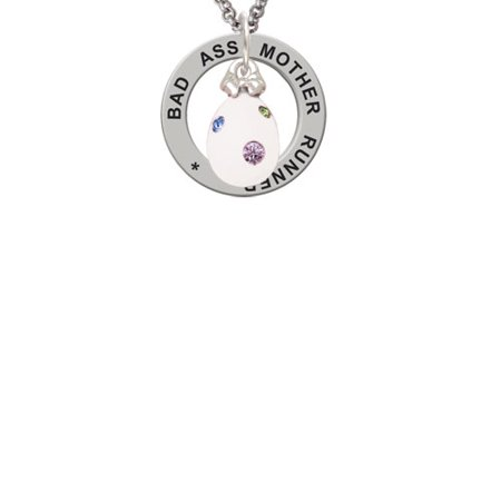 Dot Mother Of Pearl Ring - White Easter Egg with Color Crystal Dots Bad Ass Mother Runner Affirmation Ring Necklace