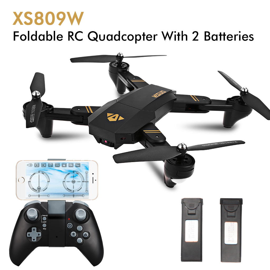 Virhuck VISUO XS809W  720P WiFi FPV Foldable Selfie RC Quadcopter with 3 Level Speed Mode G-sensor Altitude Hold Headless One Key Return Functions  2PCS Batteries