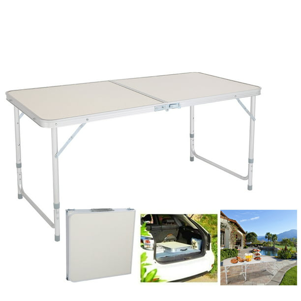 4FT Aluminum Alloy Folding Table, Indoor Outdoor Portable Foldable Plastic Dining Table, Lightweight Rectangular Table with Adjustable Height & Carrying Handle for Party Picnic Beach Camping, B280