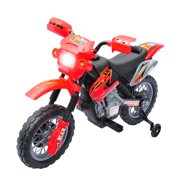 Qaba 6V Kids Battery-Powered Electric Ride-On Motorcycle Dirt Bike Toy with Training Wheels - Red