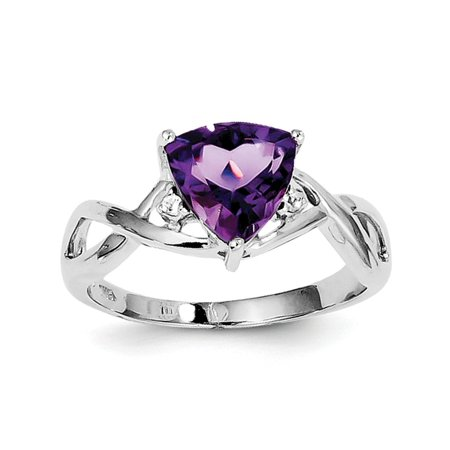 Sterling Silver Rhodium Plated Amethyst White Topaz Trillion Ring - Ring Size: 6 to 9
