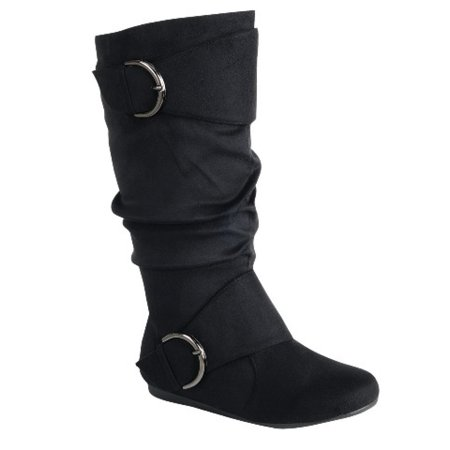 Women's Flat Heel Zipper Buckle Slouchy Mid-Calf Knee High Boot Shoes Size (Kln-70-Black-7)