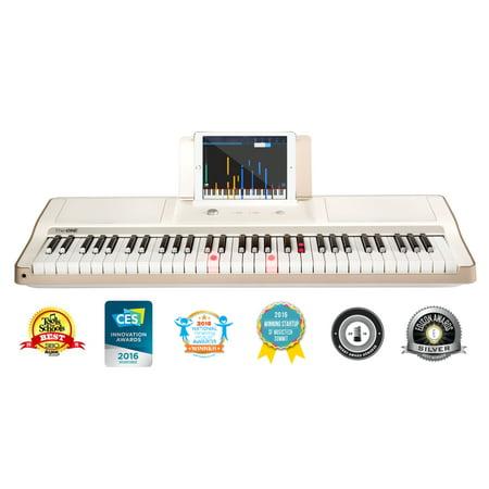 - The ONE Smart Piano - Light Keyboard, White/Gold