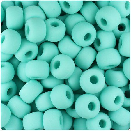 BeadTin Light Turquoise Matte 11mm Large Barrel Pony Beads (250pcs) (Turquoise Matte)