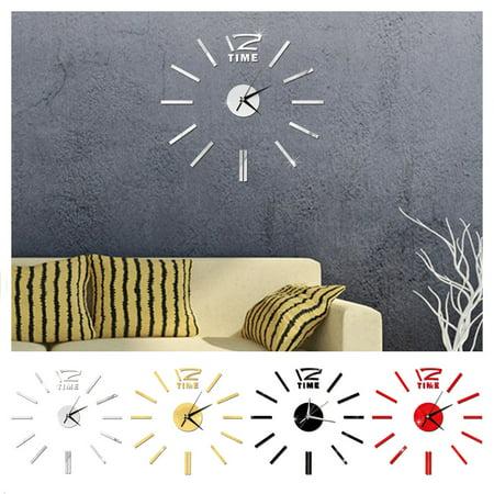 Modern DIY Wall Clock 3D Stirpes Analog Watch Clock Sticker Art Decal for Home Decor Color:Gold - image 4 de 8