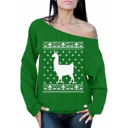 c09a0ca1702b6 Awkward Styles Llama Christmas Off The Shoulder Sweatshirt Christmas Llama  Oversized Sweater for Women Funny Llama Gifts for Christmas Xmas Party  Outfit ...