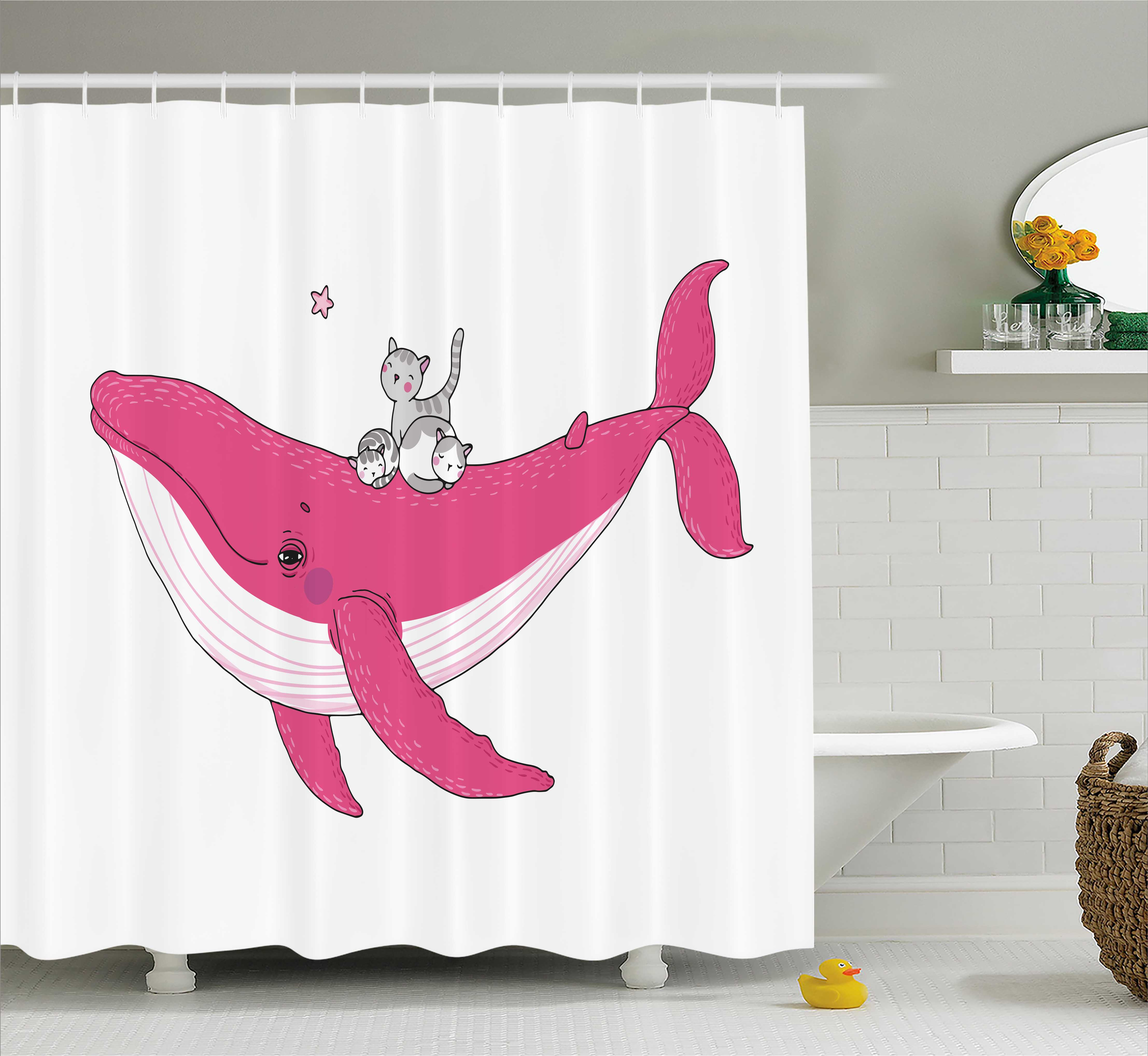Whale Shower Curtain, Three Cute Little Grey Kitten on Big Fish Aquatic Star Magic Animal Underwater Kids Theme, Fabric Bathroom Set with Hooks, 69W X 75L Inches Long, Pink, by Ambesonne