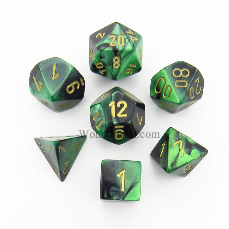 Black and Green Gemini Dice with Gold Numbers 7 Dice Set 16mm (5/8in) Chessex