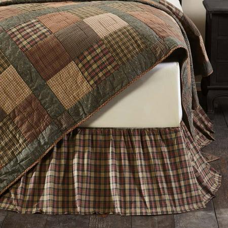 California King Plaid Bedskirt - Natural Tan Primitive Bedding Cinnamon Plaid Cotton Split Corners Gathered Plaid King Bed Skirt
