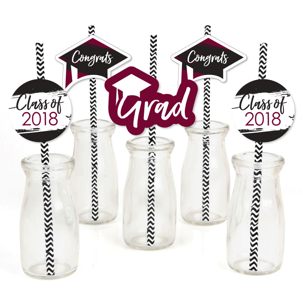 Maroon Grad - Best is Yet to Come - Paper Straw Decor - Burgundy Graduation Striped Decorative Straws -Set of 24