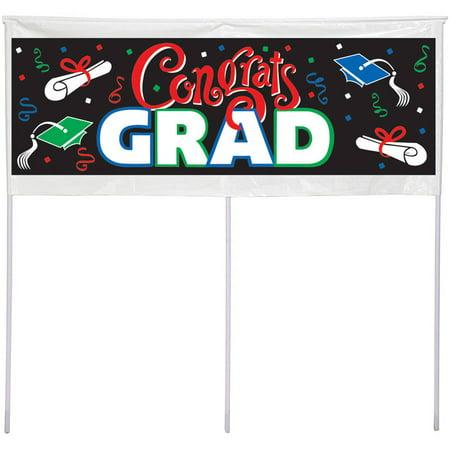 Congrats Grad Yard Banner, 1pk - Graduation Banner Ideas