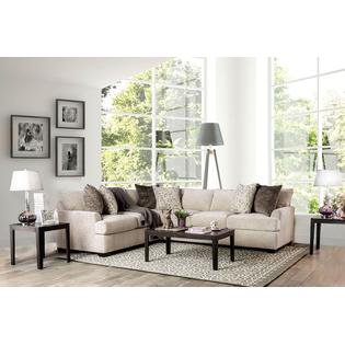 Nuuk Contemporary Style Sectional Sofa Wraps in Ivory Chenille with Free Accent Pillows ()