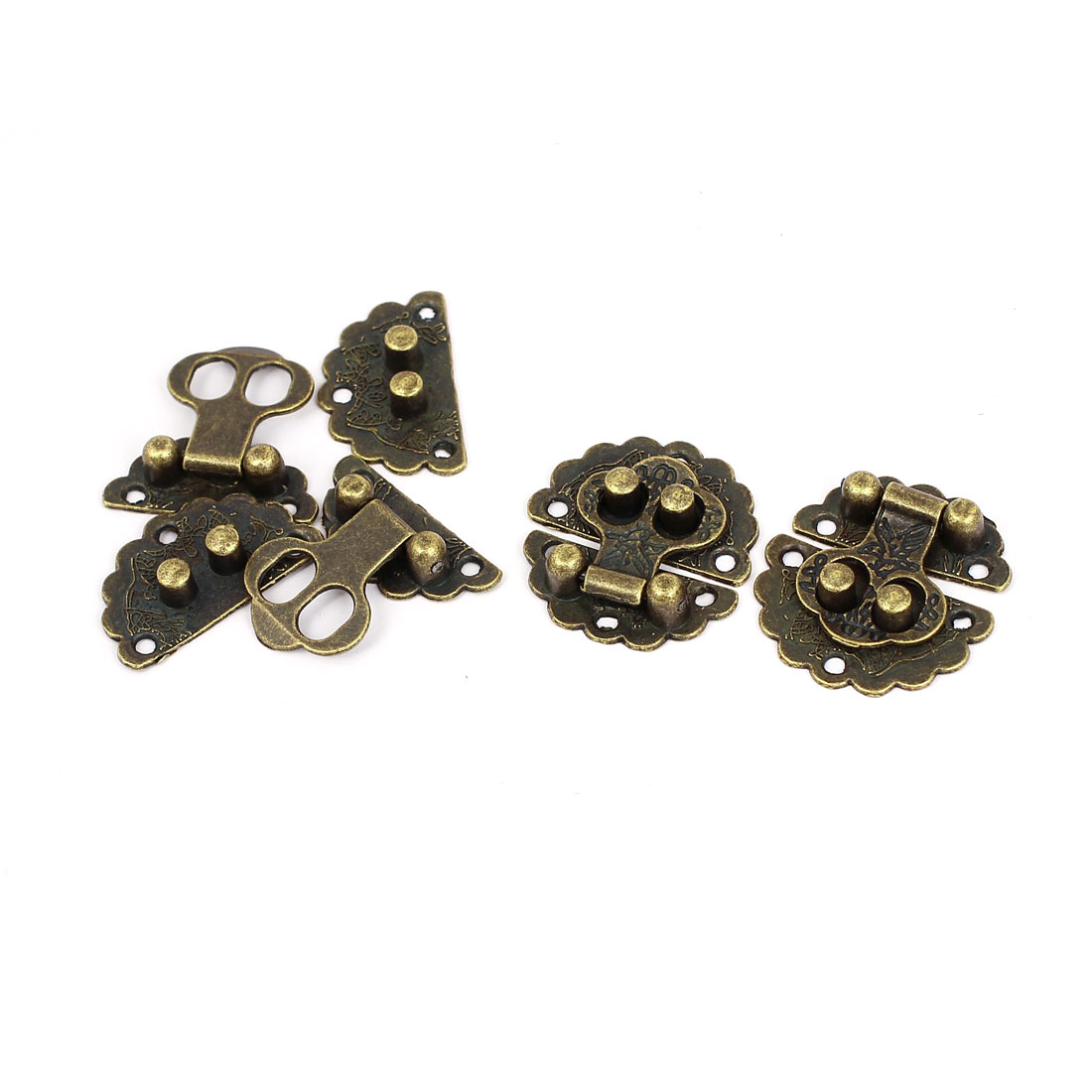 Antique Style Wood Case Chest Box 30mm Round Clasp Hasp Latch Bronze Tone 4 Set