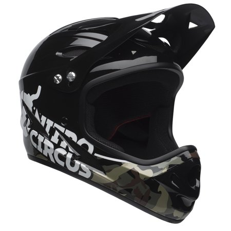 Camo Large Helmet (Bell Nitro Circus Exodus Full-Face Bike Helmet w/ Chinbar, Black Camo, Youth 8+ (54-58cm) )