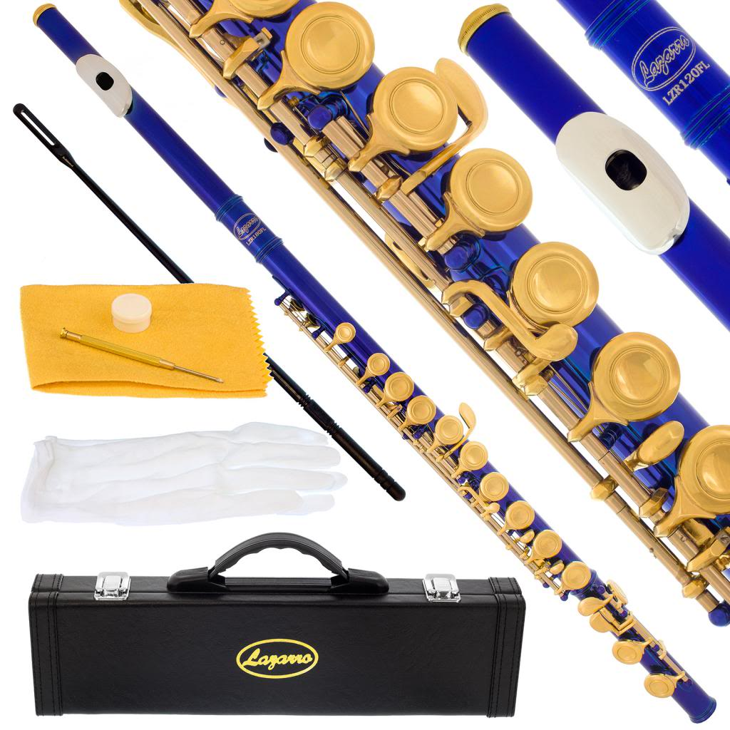 Lazarro 180-BU Professional Royal Blue-Gold Closed Hole C Flute with Case, Care Kit-Great for Band, Orchestra,Schools