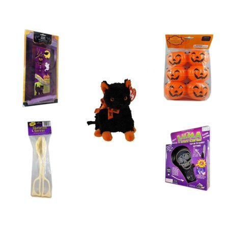 Halloween Fun Gift Bundle [5 Piece] - Happy  Door Panel - Party Favors Pumpkin Candy Containers 6 Count - Ty Beanie Baby
