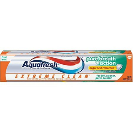 2 Pack - Aquafresh Extreme Clean Pure Breath Action Fluoride Toothpaste, Fresh Mint 5.6 -