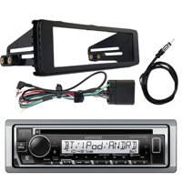 "Kenwood KMR-D375BT In-Dash Single-DIN Bluetooth CD Receiver, Enrock Stereo Installation Kit ('98-'13 Harley Davidson, HD Touring), Marine 22"" Universal Wired AM/FM Radio Antenna"