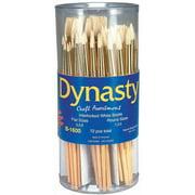 Dynasty B-1600 Cylinder Craft Interlocked White Bristle Short Handle Paint Brush Assortment, Assorted Size, Pack of 72